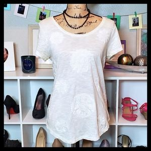Lucky Brand Scoop Neck Tee in White